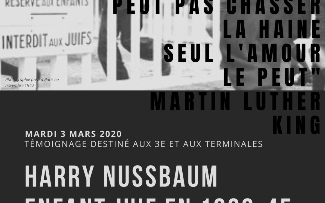 Lundi 2 mars : Intervention de M. Nussbaum, enfant juif en 39-45